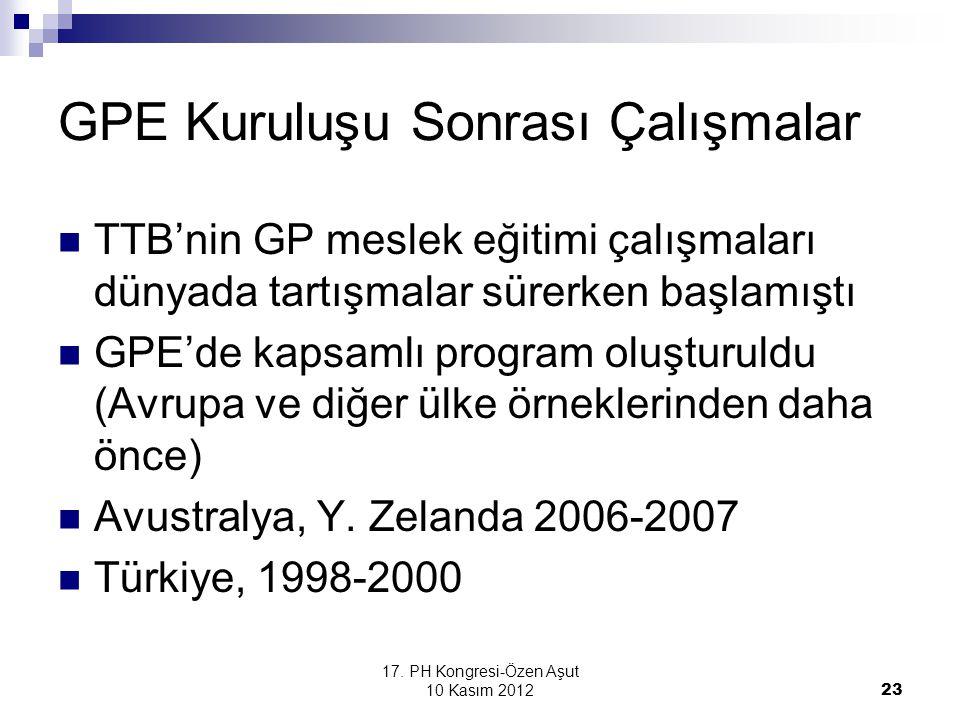 17. PH Kongresi-Özen Aşut 10 Kasım 2012 23 GPE Kuruluşu Sonrası Çalışmalar TTB'nin GP meslek eğitimi çalışmaları dünyada tartışmalar sürerken başlamış