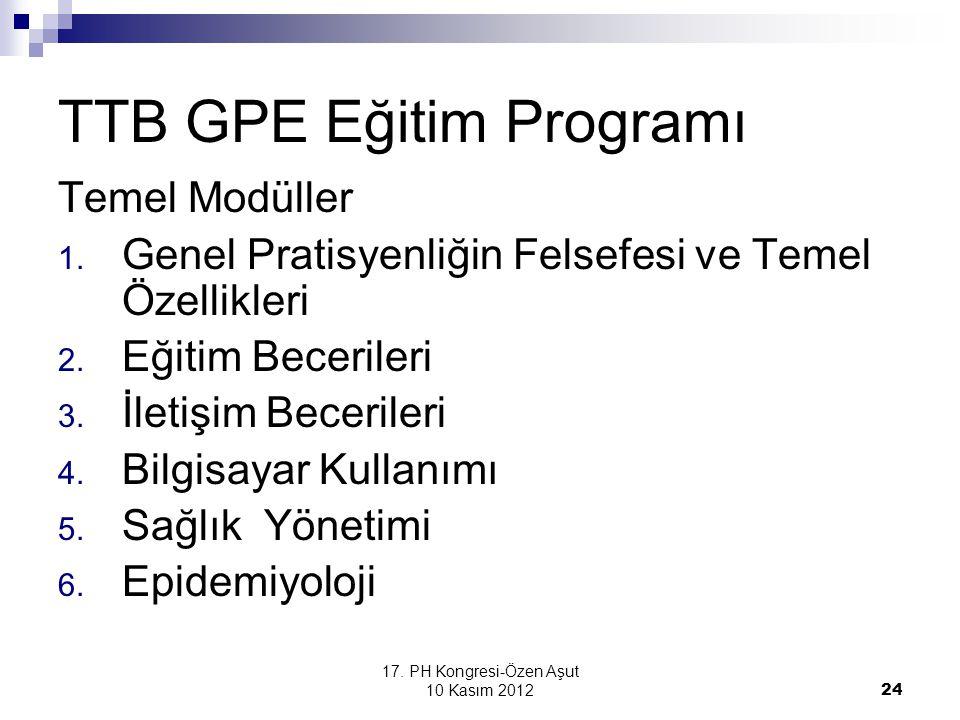 17. PH Kongresi-Özen Aşut 10 Kasım 2012 24 TTB GPE Eğitim Programı Temel Modüller 1. Genel Pratisyenliğin Felsefesi ve Temel Özellikleri 2. Eğitim Bec