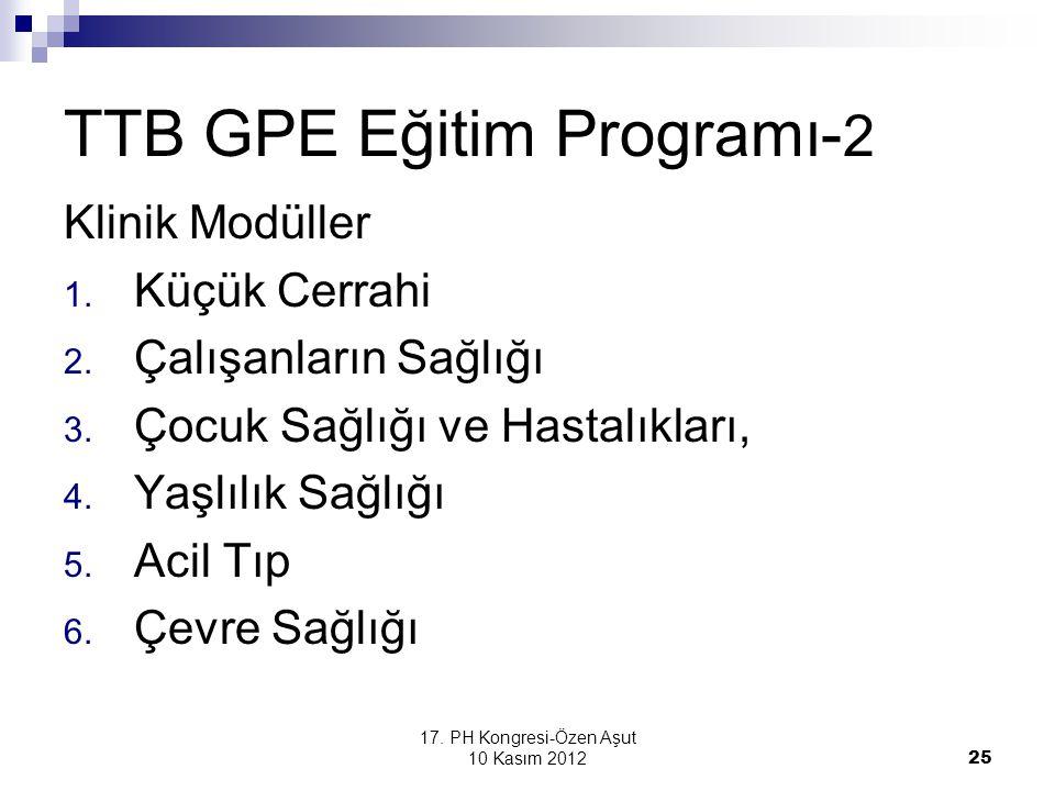 17. PH Kongresi-Özen Aşut 10 Kasım 2012 25 TTB GPE Eğitim Programı- 2 Klinik Modüller 1. Küçük Cerrahi 2. Çalışanların Sağlığı 3. Çocuk Sağlığı ve Has
