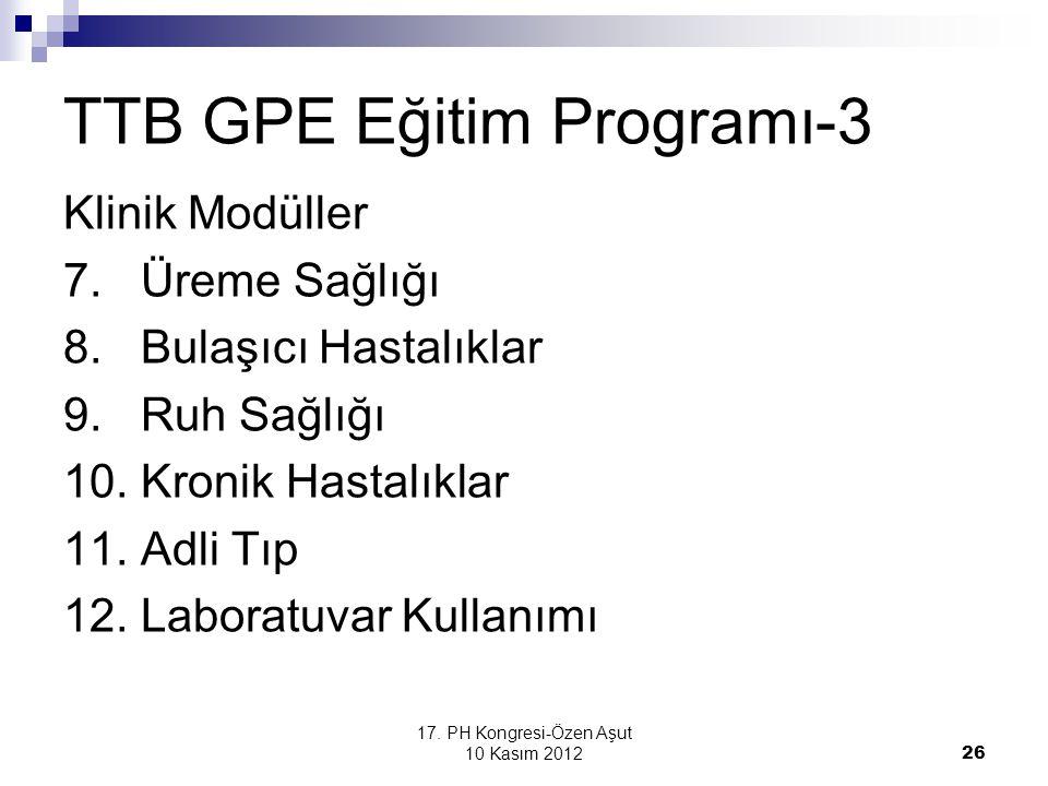 17. PH Kongresi-Özen Aşut 10 Kasım 2012 26 TTB GPE Eğitim Programı-3 Klinik Modüller 7. Üreme Sağlığı 8. Bulaşıcı Hastalıklar 9. Ruh Sağlığı 10. Kroni