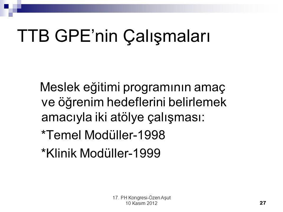 17. PH Kongresi-Özen Aşut 10 Kasım 2012 27 TTB GPE'nin Çalışmaları Meslek eğitimi programının amaç ve öğrenim hedeflerini belirlemek amacıyla iki atöl