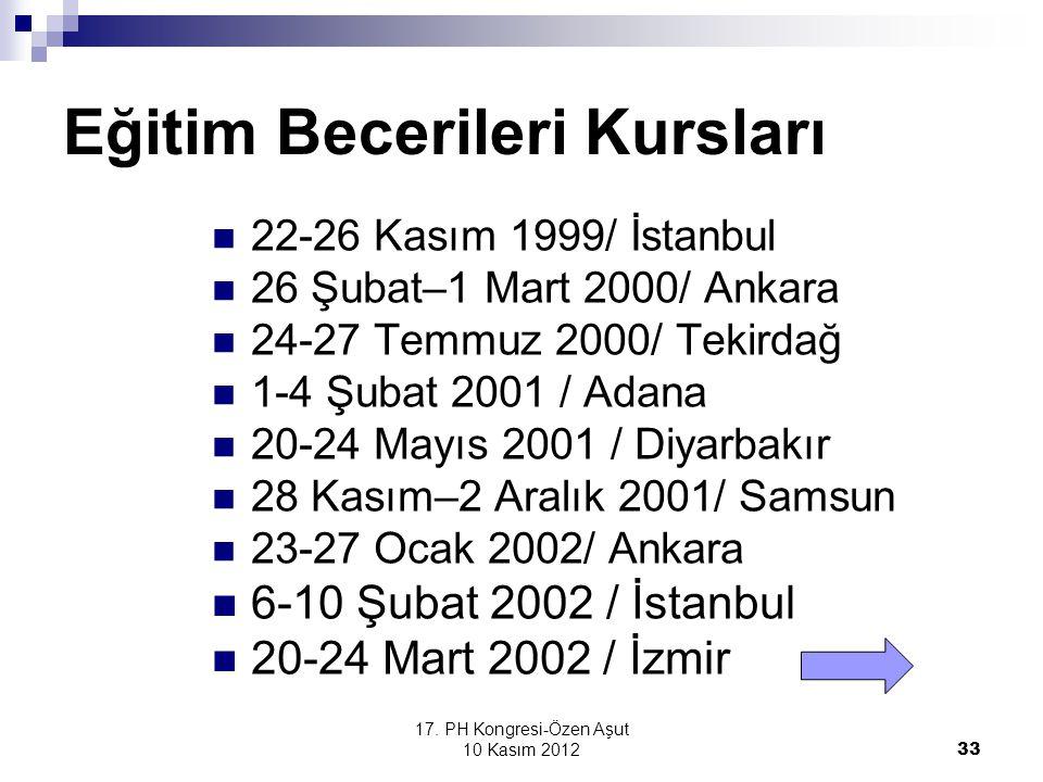 17. PH Kongresi-Özen Aşut 10 Kasım 2012 33 Eğitim Becerileri Kursları 22-26 Kasım 1999/ İstanbul 26 Şubat–1 Mart 2000/ Ankara 24-27 Temmuz 2000/ Tekir
