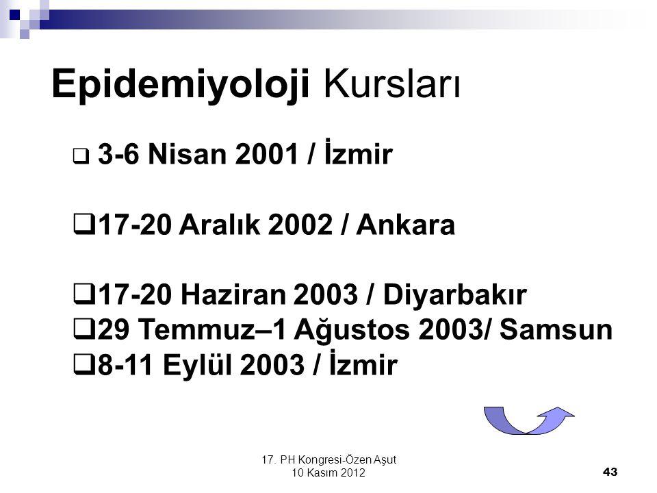 17. PH Kongresi-Özen Aşut 10 Kasım 2012 43 Epidemiyoloji Kursları  3-6 Nisan 2001 / İzmir  17-20 Aralık 2002 / Ankara  17-20 Haziran 2003 / Diyarba