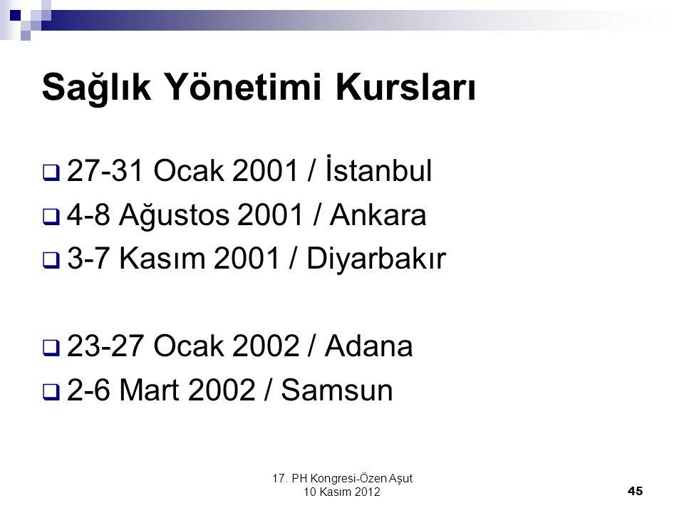 17. PH Kongresi-Özen Aşut 10 Kasım 2012 45 Sağlık Yönetimi Kursları  27-31 Ocak 2001 / İstanbul  4-8 Ağustos 2001 / Ankara  3-7 Kasım 2001 / Diyarb