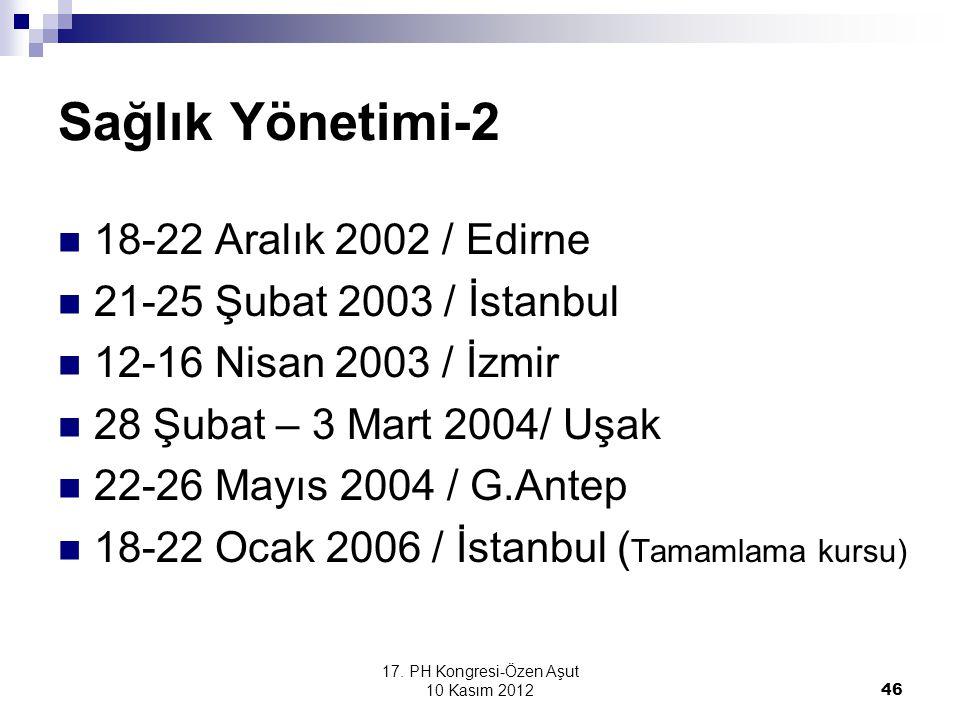 17. PH Kongresi-Özen Aşut 10 Kasım 2012 46 Sağlık Yönetimi-2 18-22 Aralık 2002 / Edirne 21-25 Şubat 2003 / İstanbul 12-16 Nisan 2003 / İzmir 28 Şubat