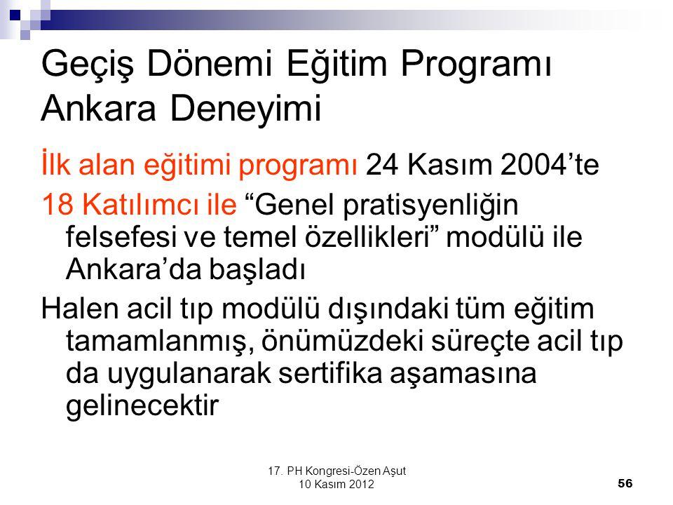 """17. PH Kongresi-Özen Aşut 10 Kasım 2012 56 Geçiş Dönemi Eğitim Programı Ankara Deneyimi İlk alan eğitimi programı 24 Kasım 2004'te 18 Katılımcı ile """"G"""