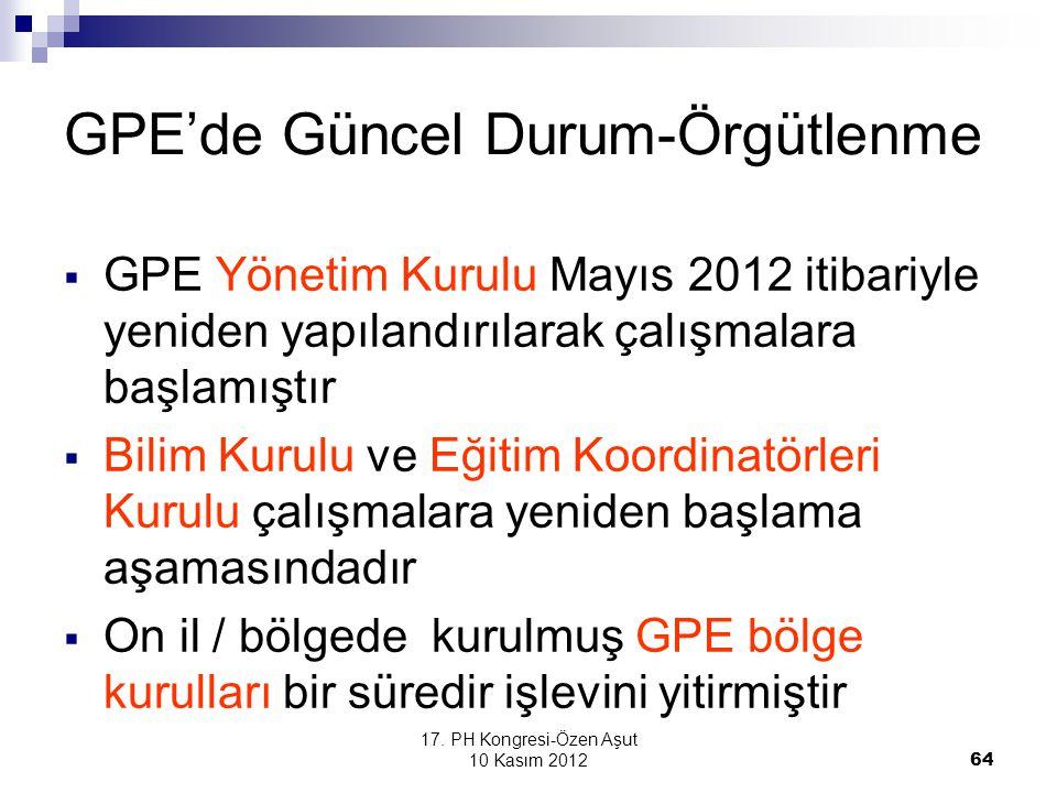 17. PH Kongresi-Özen Aşut 10 Kasım 2012 64 GPE'de Güncel Durum-Örgütlenme  GPE Yönetim Kurulu Mayıs 2012 itibariyle yeniden yapılandırılarak çalışmal