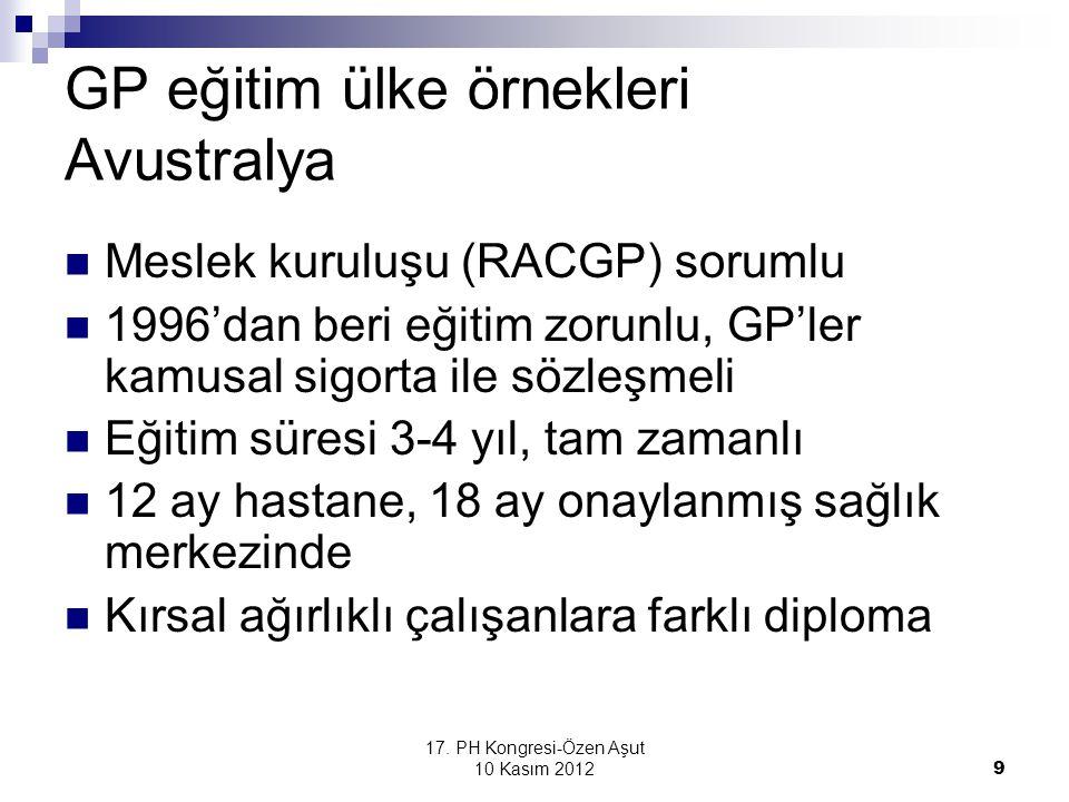 17. PH Kongresi-Özen Aşut 10 Kasım 2012 9 GP eğitim ülke örnekleri Avustralya Meslek kuruluşu (RACGP) sorumlu 1996'dan beri eğitim zorunlu, GP'ler kam