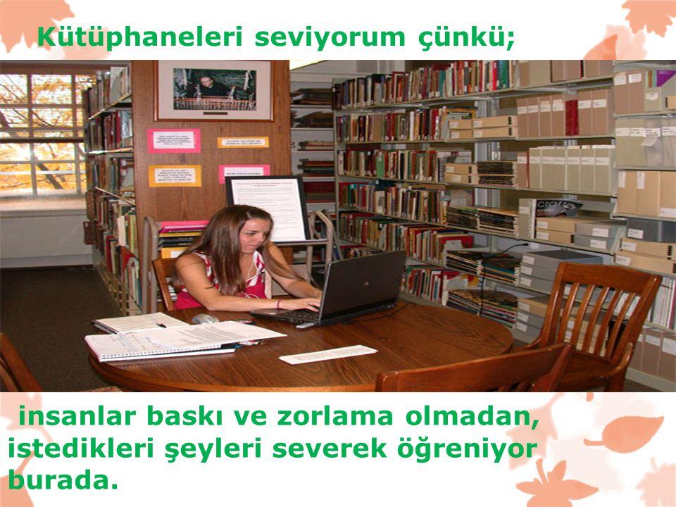 Kütüphaneleri seviyorum çünkü; insanlar baskı ve zorlama olmadan, istedikleri şeyleri severek öğreniyor burada..