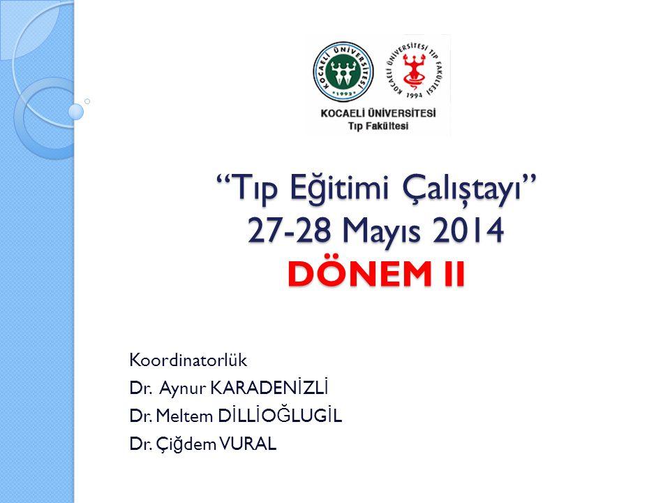 Tıp E ğ itimi Çalıştayı 27-28 Mayıs 2014 DÖNEM II Koordinatorlük Dr.
