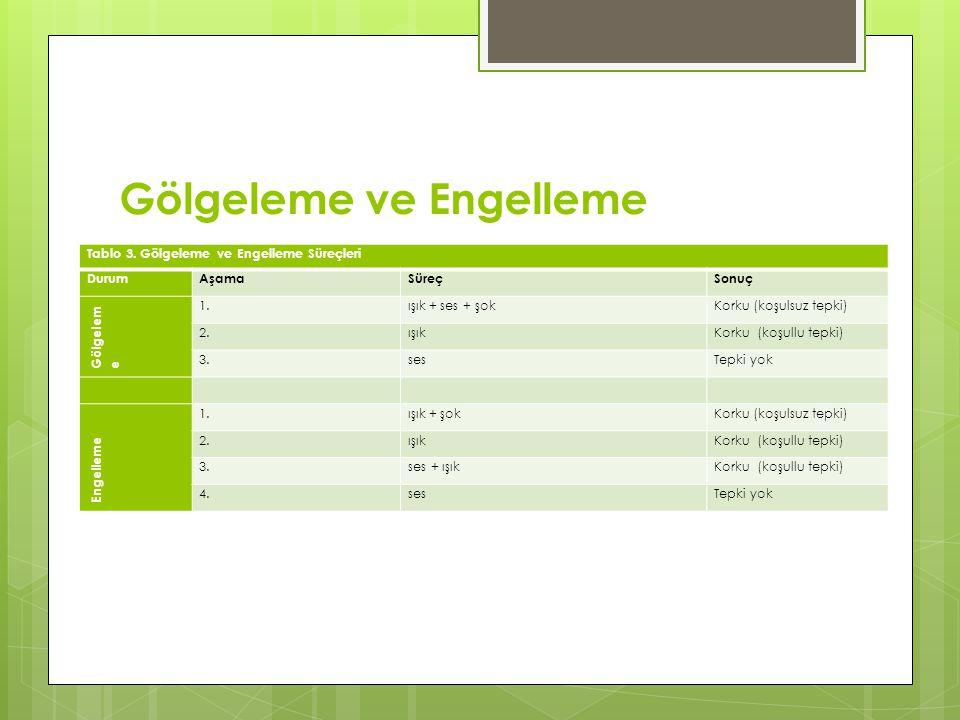 Gölgeleme ve Engelleme Tablo 3.