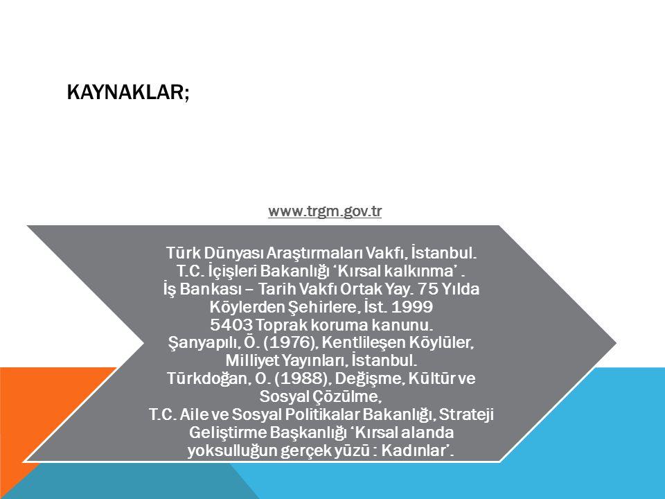 KAYNAKLAR; Türk Dünyası Araştırmaları Vakfı, İstanbul. T.C. İçişleri Bakanlığı 'Kırsal kalkınma'. İş Bankası – Tarih Vakfı Ortak Yay. 75 Yılda Köylerd