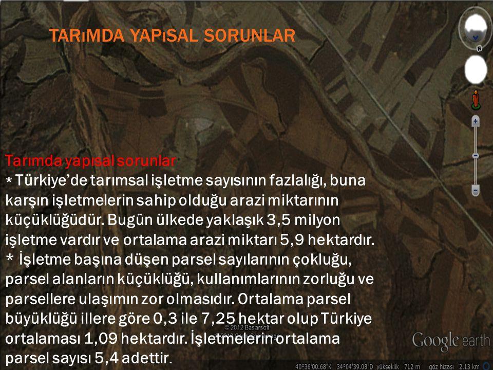 TARıMDA YAPıSAL SORUNLAR Tarımda yapısal sorunlar * Türkiye'de tarımsal işletme sayısının fazlalığı, buna karşın işletmelerin sahip olduğu arazi mikta