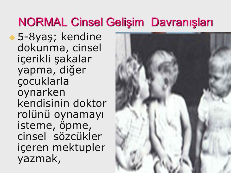 NORMAL Cinsel Gelişim Davranışları   5-8yaş; kendine dokunma, cinsel içerikli şakalar yapma, diğer çocuklarla oynarken kendisinin doktor rolünü oyna