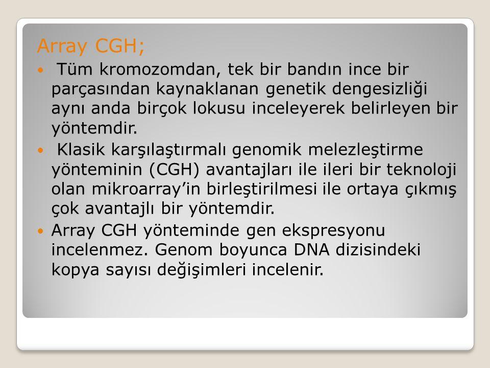 Array CGH; Tüm kromozomdan, tek bir bandın ince bir parçasından kaynaklanan genetik dengesizliği aynı anda birçok lokusu inceleyerek belirleyen bir yö