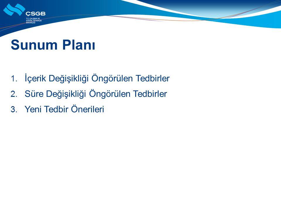 Sunum Planı 1. İçerik Değişikliği Öngörülen Tedbirler 2. Süre Değişikliği Öngörülen Tedbirler 3. Yeni Tedbir Önerileri
