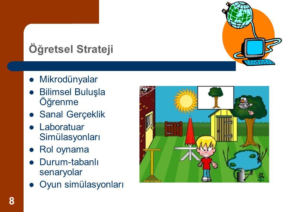 8 Öğretsel Strateji Mikrodünyalar Bilimsel Buluşla Öğrenme Sanal Gerçeklik Laboratuar Simülasyonları Rol oynama Durum-tabanlı senaryolar Oyun simülasy