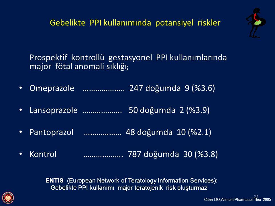 Gebelikte PPI kullanımında potansiyel riskler ENTIS (European Network of Teratology Information Services): Gebelikte PPI kullanımı major teratojenik r