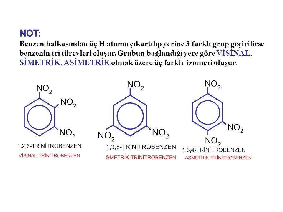 NOT: Benzen halkasından üç H atomu çıkartılıp yerine 3 farklı grup geçirilirse benzenin tri türevleri oluşur. Grubun bağlandığı yere göre VİSİNAL, SİM