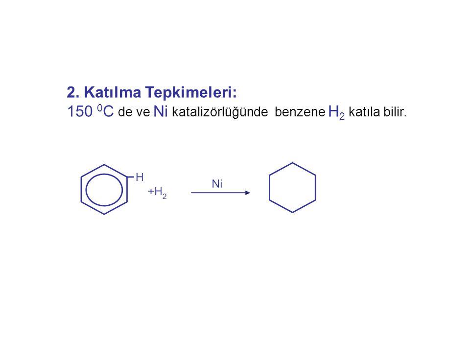 2. Katılma Tepkimeleri: 150 0 C de ve Ni katalizörlüğünde benzene H 2 katıla bilir.