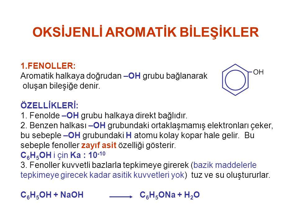 OKSİJENLİ AROMATİK BİLEŞİKLER 1.FENOLLER: Aromatik halkaya doğrudan –OH grubu bağlanarak oluşan bileşiğe denir. ÖZELLİKLERİ: 1. Fenolde –OH grubu halk