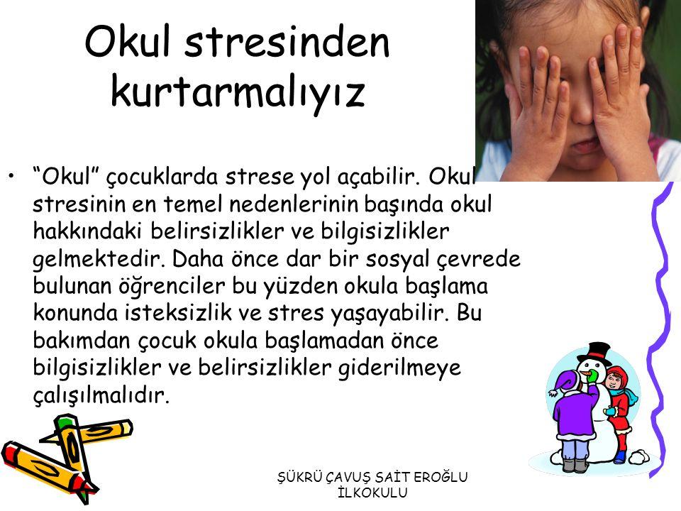 ŞÜKRÜ ÇAVUŞ SAİT EROĞLU İLKOKULU OKUL FOBİSİNDE GÖRÜLEN DİĞER BELİRTİLER Heves ve enerji kaybı oluşmaya başlamışsa, Alıngan ve sinirli olma halinde artış görülüyorsa, İştahsızlık ve uykuda huzursuzluk varsa, Okul etkinliklerine karşı pasif, içe kapanık ve utangaç davranıyorsa, Okulda ve evde daha çok nedensiz ağlamaya, kavga etmeye ve dikkat çekmeye çalışmaya başladıysa,