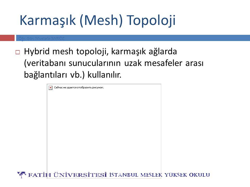 Karmaşık (Mesh) Topoloji  Hybrid mesh topoloji, karmaşık ağlarda (veritabanı sunucularının uzak mesafeler arası bağlantıları vb.) kullanılır.