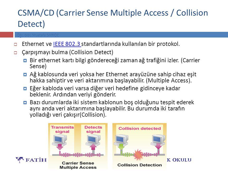 CSMA/CD (Carrier Sense Multiple Access / Collision Detect)  Ethernet ve IEEE 802.3 standartlarında kullanılan bir protokol.IEEE 802.3  Çarpışmayı bulma (Collision Detect)  Bir ethernet kartı bilgi göndereceği zaman ağ trafiğini izler.