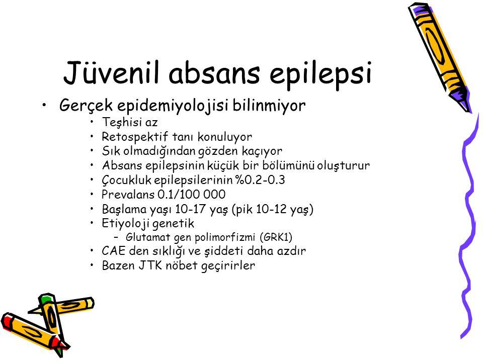 Jüvenil absans epilepsi Gerçek epidemiyolojisi bilinmiyor Teşhisi az Retospektif tanı konuluyor Sık olmadığından gözden kaçıyor Absans epilepsinin küç