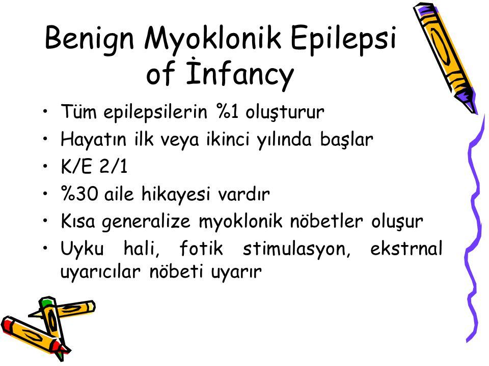Benign Myoklonik Epilepsi of İnfancy Tüm epilepsilerin %1 oluşturur Hayatın ilk veya ikinci yılında başlar K/E 2/1 %30 aile hikayesi vardır Kısa gener