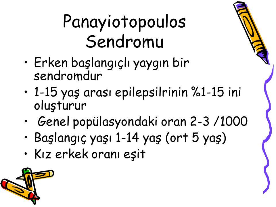 Panayiotopoulos Sendromu Erken başlangıçlı yaygın bir sendromdur 1-15 yaş arası epilepsilrinin %1-15 ini oluşturur Genel popülasyondaki oran 2-3 /1000