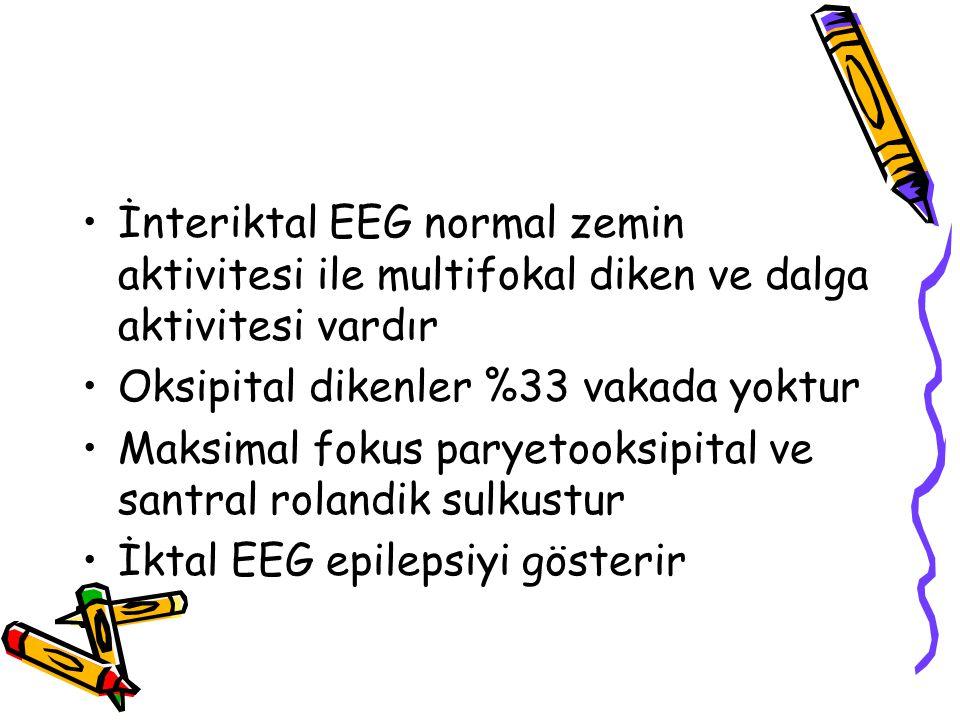 İnteriktal EEG normal zemin aktivitesi ile multifokal diken ve dalga aktivitesi vardır Oksipital dikenler %33 vakada yoktur Maksimal fokus paryetooksi
