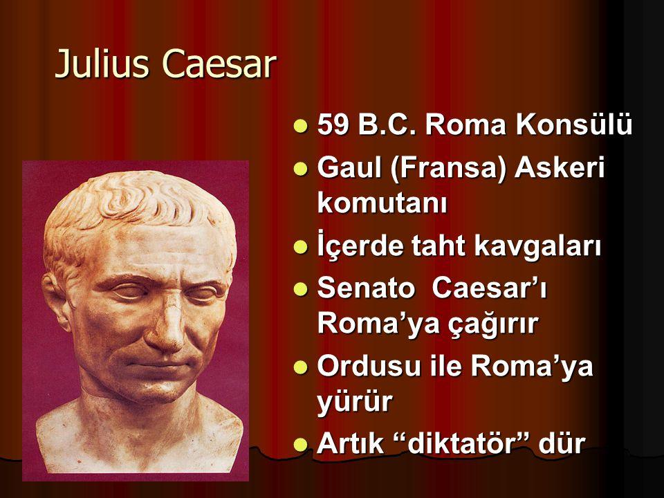 Julius Caesar 59 B.C. Roma Konsülü 59 B.C. Roma Konsülü Gaul (Fransa) Askeri komutanı Gaul (Fransa) Askeri komutanı İçerde taht kavgaları İçerde taht