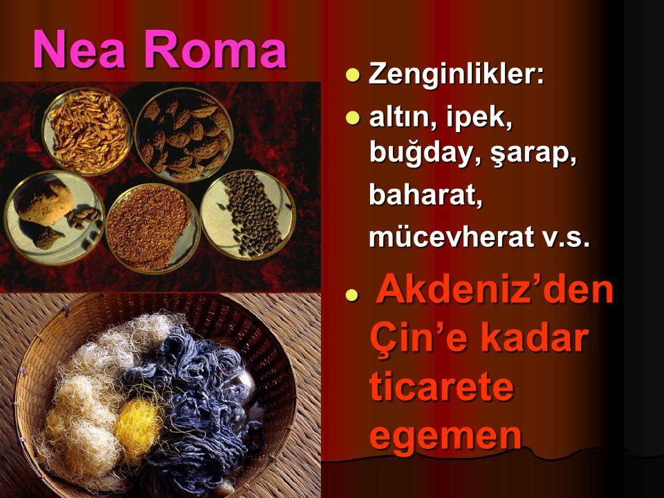 Nea Roma Zenginlikler: Zenginlikler: altın, ipek, buğday, şarap, altın, ipek, buğday, şarap, baharat, baharat, mücevherat v.s. mücevherat v.s. Akdeniz
