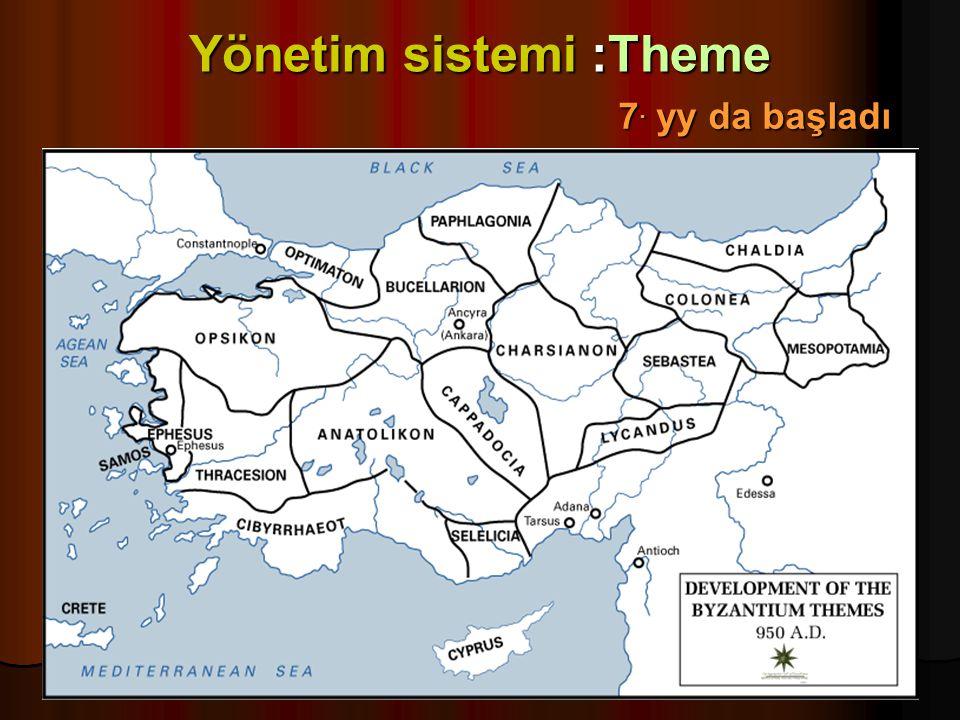Yönetim sistemi :Theme 7. yy da başladı