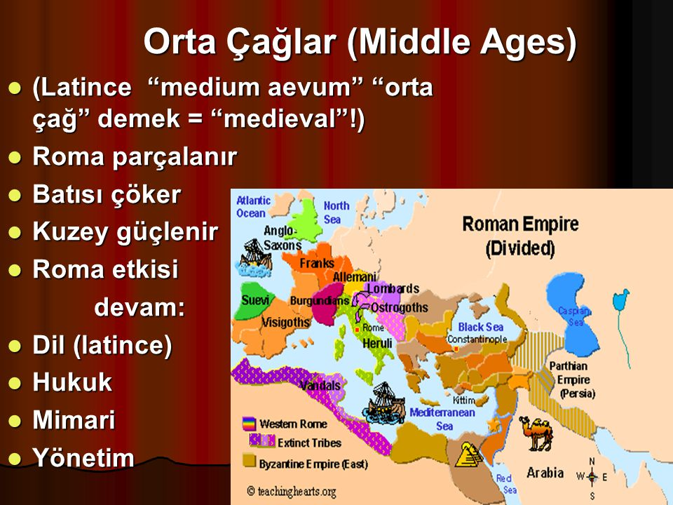 "Orta Çağlar (Middle Ages) (Latince ""medium aevum"" ""orta çağ"" demek = ""medieval""!) (Latince ""medium aevum"" ""orta çağ"" demek = ""medieval""!) Roma parçala"