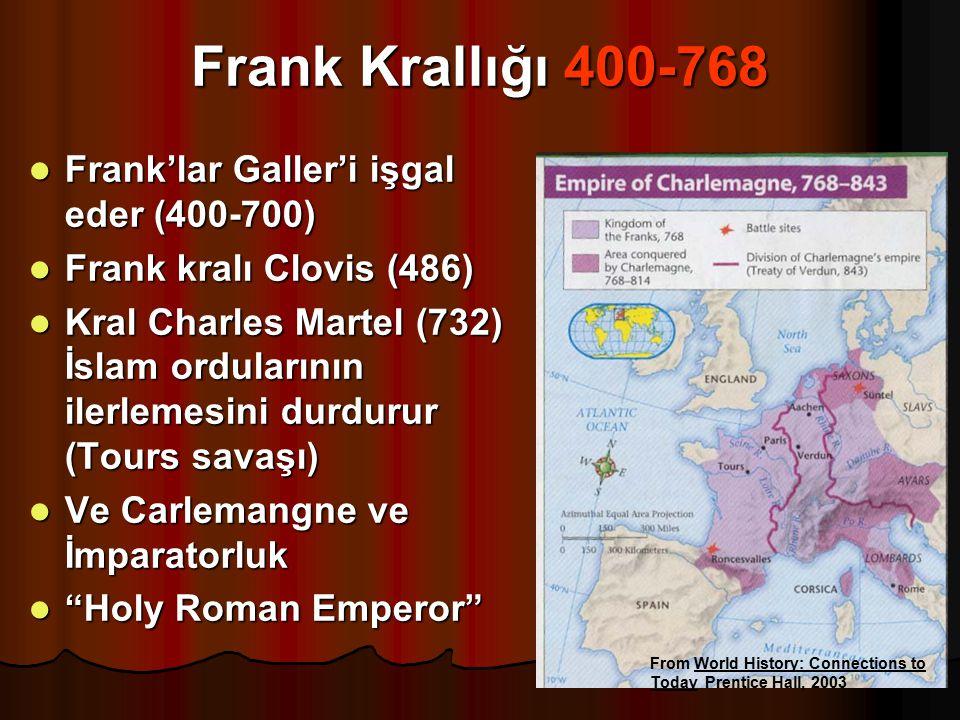 Frank Krallığı 400-768 Frank'lar Galler'i işgal eder (400-700) Frank'lar Galler'i işgal eder (400-700) Frank kralı Clovis (486) Frank kralı Clovis (48