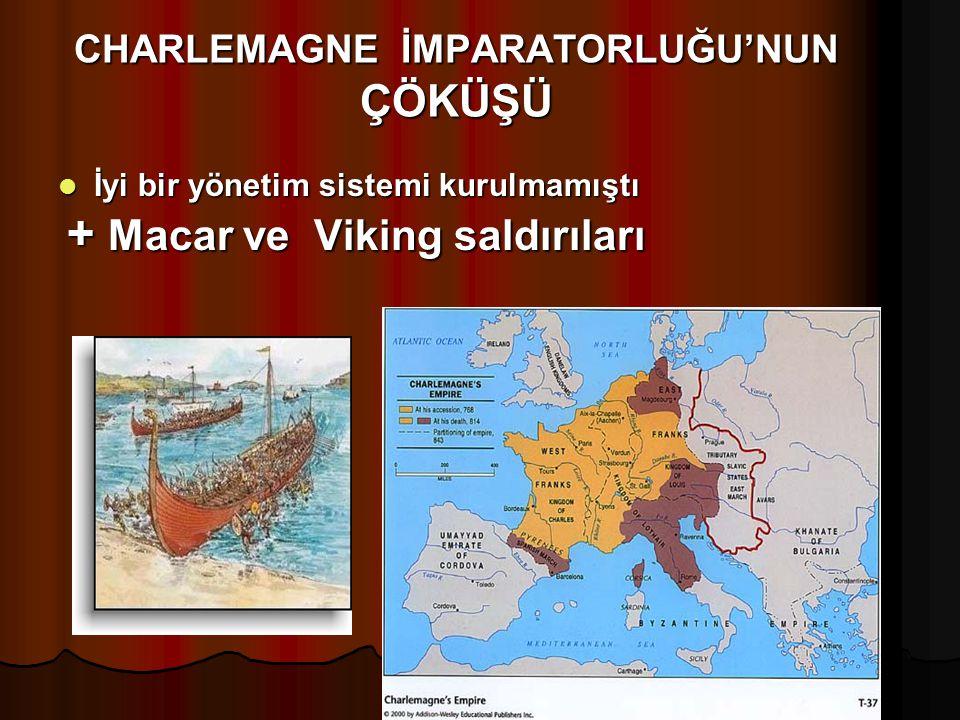 CHARLEMAGNE İMPARATORLUĞU'NUN ÇÖKÜŞÜ İyi bir yönetim sistemi kurulmamıştı İyi bir yönetim sistemi kurulmamıştı + Macar ve Viking saldırıları + Macar v