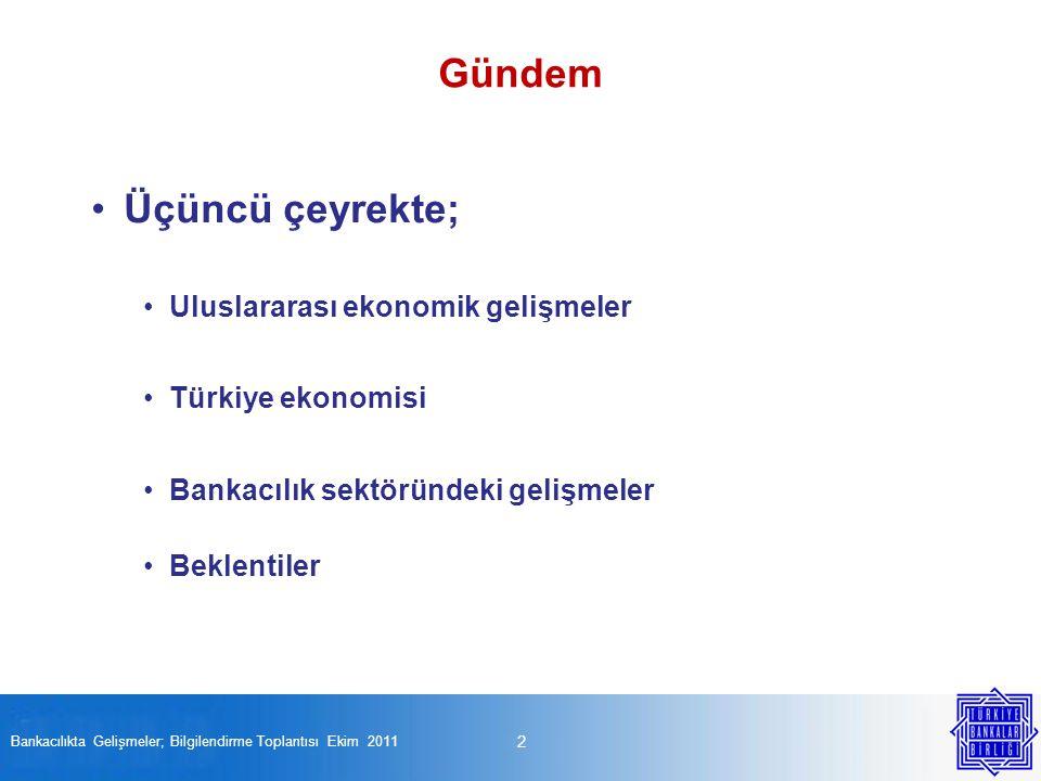Üçüncü çeyrekte; Uluslararası ekonomik gelişmeler Türkiye ekonomisi Bankacılık sektöründeki gelişmeler Beklentiler 2 Gündem Bankacılıkta Gelişmeler; Bilgilendirme Toplantısı Ekim 2011