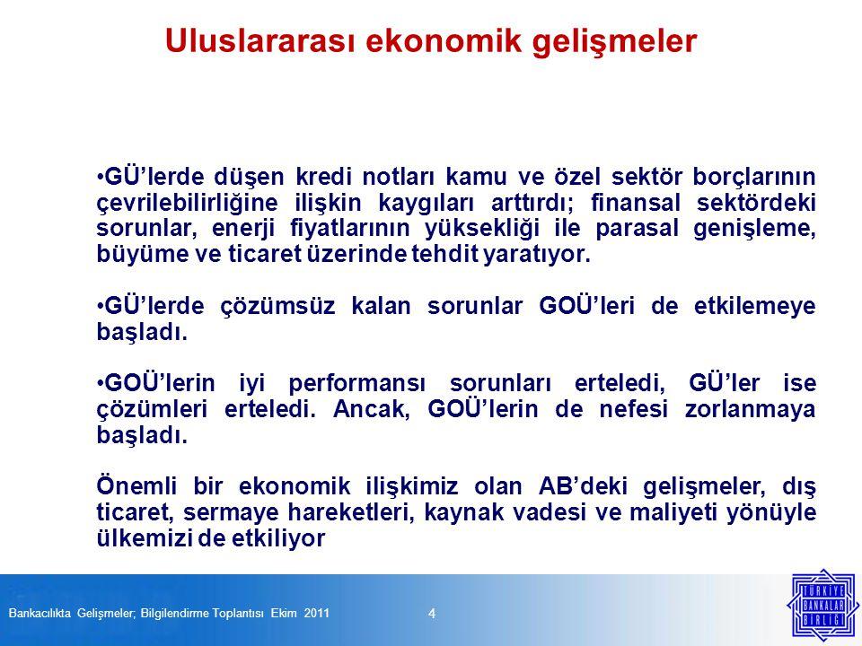 Uluslararası ekonomik gelişmeler Bankacılıkta Gelişmeler; Bilgilendirme Toplantısı Ekim 2011 4 GÜ'lerde düşen kredi notları kamu ve özel sektör borçla