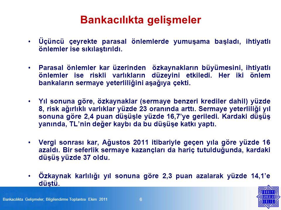 27 Bankacılıkta Gelişmeler; Bilgilendirme Toplantısı Ekim 2011 Finansal kurumların piyasa değeri düştü