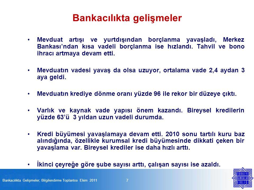 28 Bankacılıkta Gelişmeler; Bilgilendirme Toplantısı Ekim 2011 Son çeyrekte, çalışan sayısı azaldı