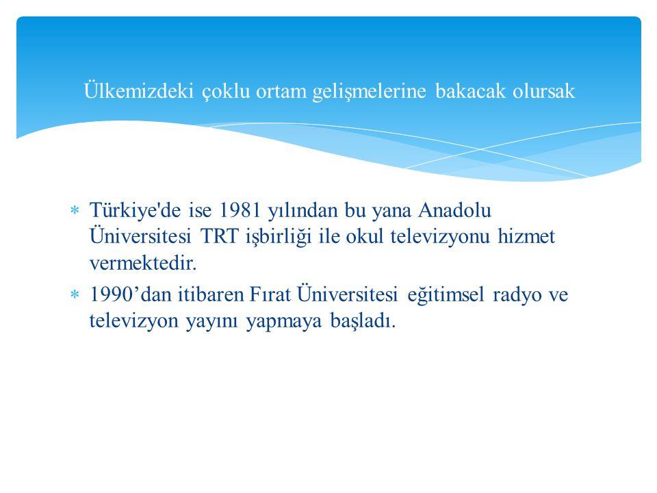 Türkiye'de ise 1981 yılından bu yana Anadolu Üniversitesi TRT işbirliği ile okul televizyonu hizmet vermektedir.  1990'dan itibaren Fırat Üniversit