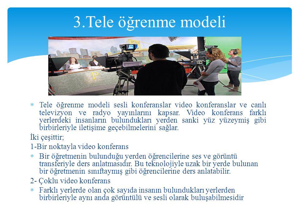  Tele öğrenme modeli sesli konferanslar video konferanslar ve canlı televizyon ve radyo yayınlarını kapsar. Video konferans farklı yerlerdeki insanla