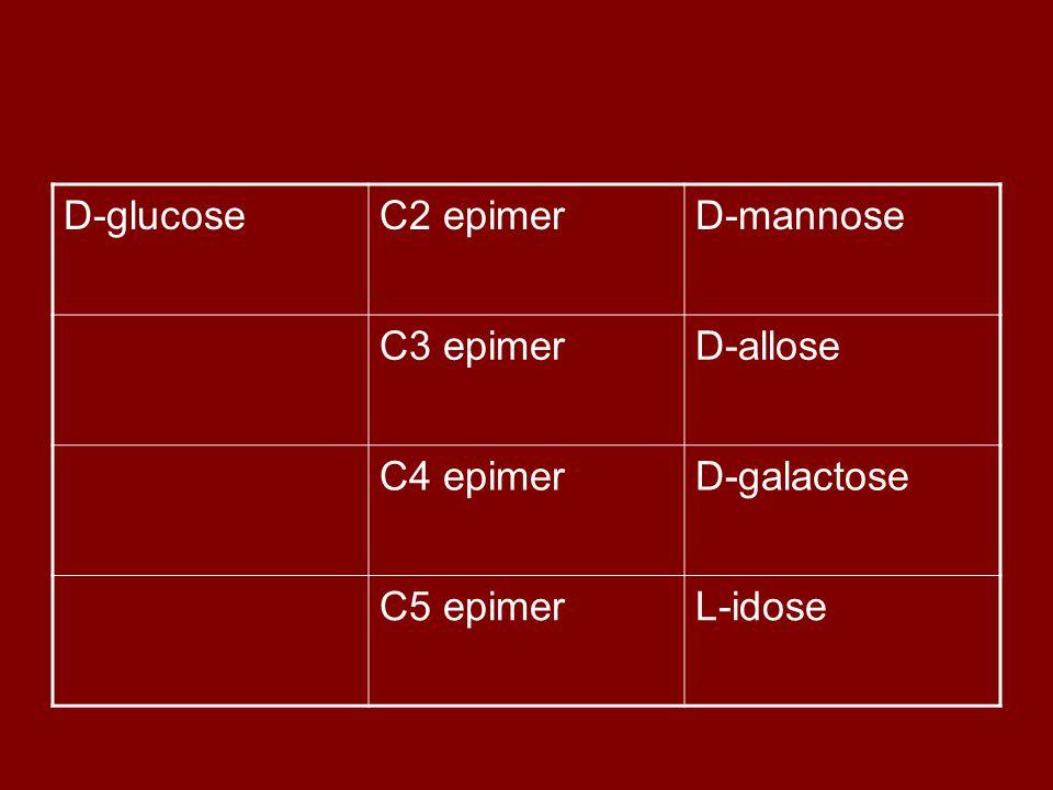 D-glucoseC2 epimerD-mannose C3 epimerD-allose C4 epimerD-galactose C5 epimerL-idose