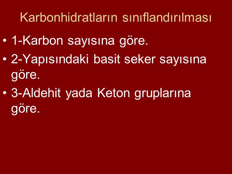 Karbonhidratların sınıflandırılması 1-Karbon sayısına göre. 2-Yapısındaki basit seker sayısına göre. 3-Aldehit yada Keton gruplarına göre.