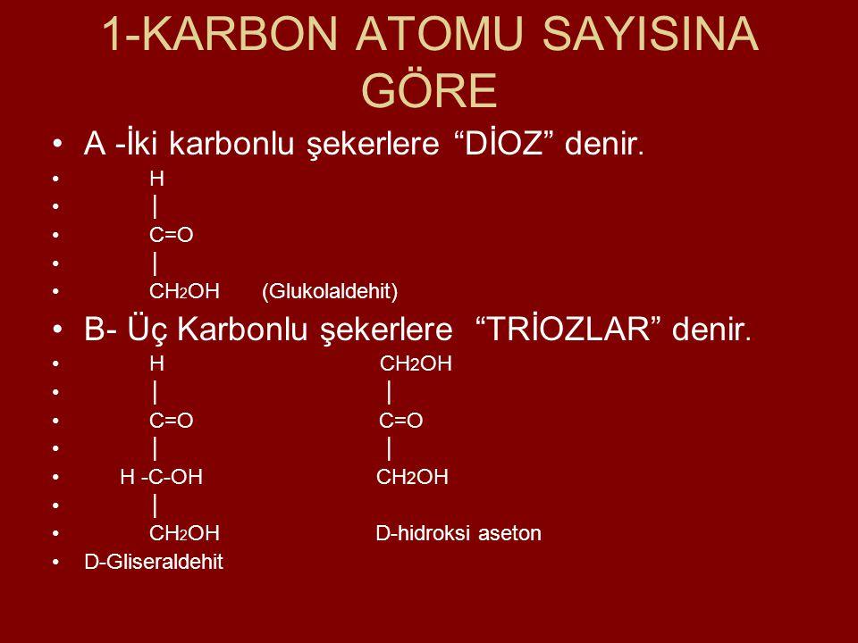 """1-KARBON ATOMU SAYISINA GÖRE A -İki karbonlu şekerlere """"DİOZ"""" denir. H │ C=O │ CH 2 OH (Glukolaldehit) B- Üç Karbonlu şekerlere """"TRİOZLAR"""" denir. H CH"""