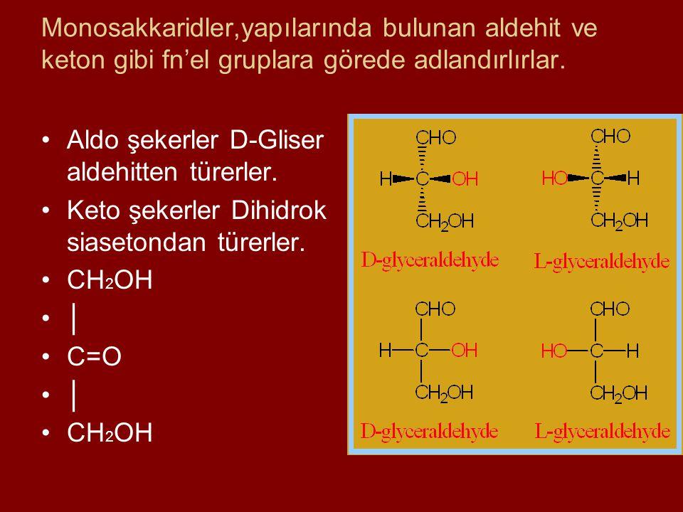 Monosakkaridler,yapılarında bulunan aldehit ve keton gibi fn'el gruplara görede adlandırlırlar. Aldo şekerler D-Gliser aldehitten türerler. Keto şeker