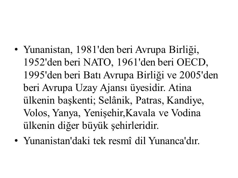 Yunanistan, 1981 den beri Avrupa Birliği, 1952 den beri NATO, 1961 den beri OECD, 1995 den beri Batı Avrupa Birliği ve 2005 den beri Avrupa Uzay Ajansı üyesidir.