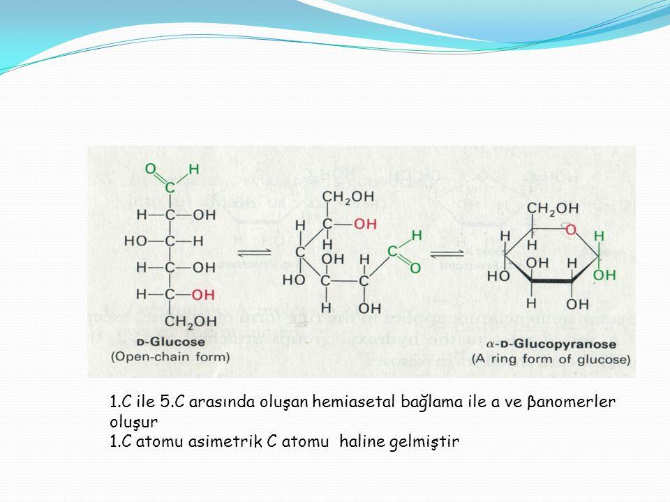 1.C ile 5.C arasında oluşan hemiasetal bağlama ile a ve βanomerler oluşur 1.C atomu asimetrik C atomu haline gelmiştir